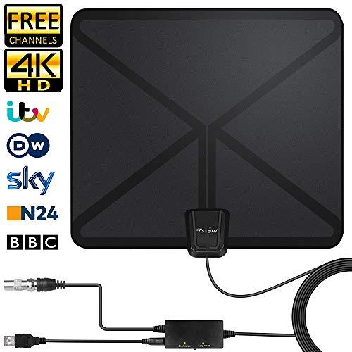 Nueva versión 2019 Antena TV Interior-TS-ant Antena de TV Digital HD, 130KM Gama de Recepción, con Amplificador de Señal,Cable Coaxial de 5M Ultra Plana Antena TV TDT Interior DVB-T DVB-T2