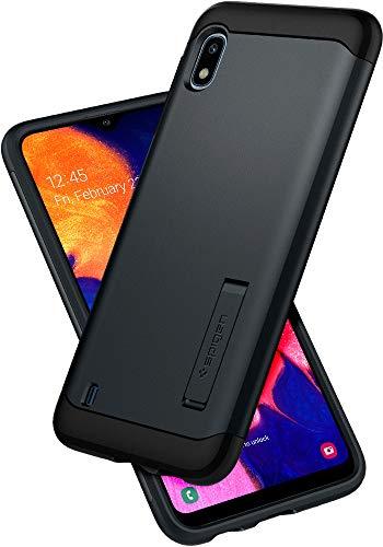Spigen, Funda Compatible con Samsung Galaxy A10 [Slim Armor] con Kick Stand y Protección híbrida contra caídas - [Metal Slate]