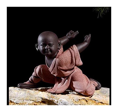 WQQLQX Statue Statue kleine Mönchskulptur Keramikstatue für Home Decoration Chinesischen Stil Tee Set Buddha Skulptur Statue Best GIF Skulpturen (Color : A)