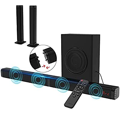 2.1 CH Sound Bar for TV with Subwoofer 120W 3D TV Speaker Surround Sound Home Theater Audio System DSP, HDMI RCA, Bluetooth, USB, Opt, COA and AUX Connection, 2 in 1 Detachable Design, 10 EQ Modes