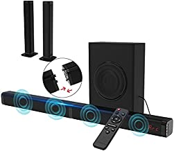 2.1 CH Sound Bar for TV with Subwoofer 120W 3D TV Speaker Surround Sound Home Theater Audio DSP, HDMI RCA, Bluetooth, USB, Opt, COA and AUX Connection, 2 in 1 Detachable Design, 10 EQ Modes
