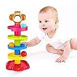 YGJT Baby Spielzeug ab 6 Monate Kugelbahn | Motorikspielzeug ab 1 Jahr mit 5 Schichte Ball Drop Spiel | Montessori Lernspielzeug für Jungen und Mädchen als Geburztag Geschenk (AFFE)