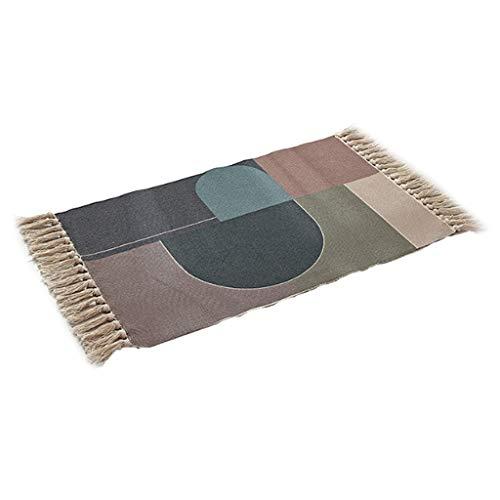 Ixkbiced Alfombra de área Rectangular Tejida a Mano de Lino de algodón nórdico Alfombra de Bloques de Colores geométricos