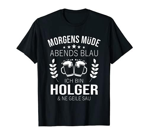 Herren Holger Vorname Geschenk Geburtstag Lustiges Bier Sprüche T-Shirt