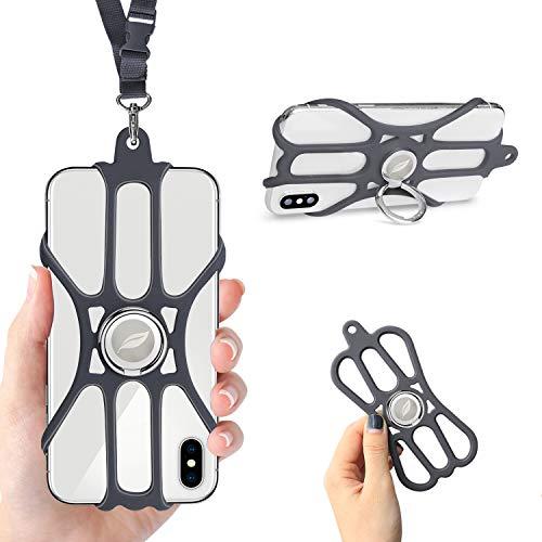 ROCONTRIP Estuche de Silicona con Cuello Ajustable y Soporte para Anillo para Teléfonos Inteligentes de 4.7-6.5'para iPhone 11, X, 8.7.6S Galaxy, Huawei