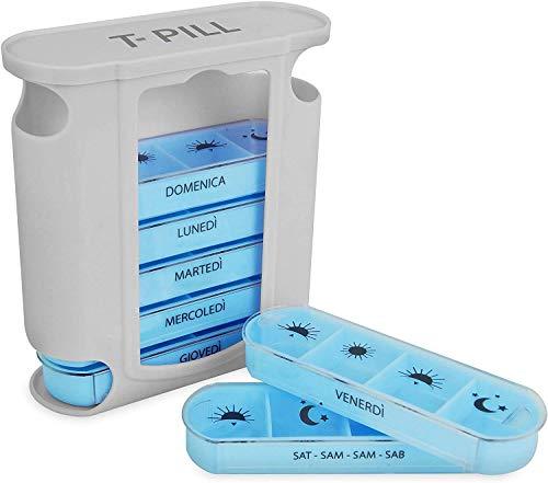 T-Pill Tower Portapillole Settimanale, 4 linee di pianificazione giornaliera, ITALIANO (+ 4 lingue) (Azzurro)