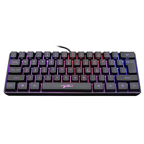 Snpurdiri ST-K3 60% kabelgebundene Gaming-Tastatur, ultrakompakte Mini-Tastatur mit RGB-Hintergrundbeleuchtung, wasserdichte Mini-Compact-Tastatur mit 61 Tasten, für PC/Mac, Schreibkraft, Reisen