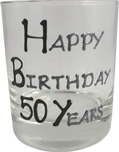 50th Birthday Whisky Verre Noir/Argent