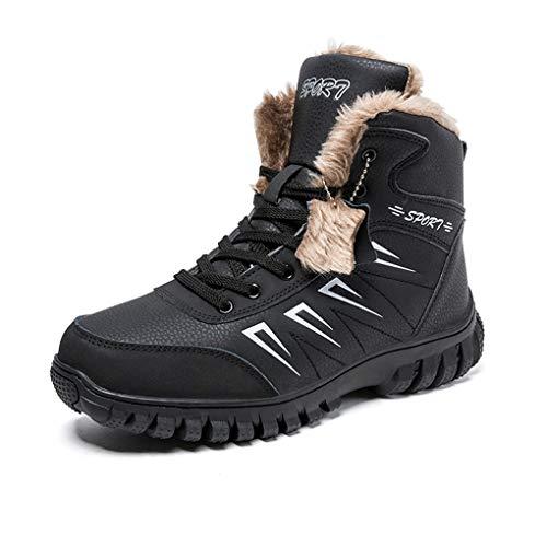 Botas de Senderismo Hombre Invierno Cordones Botines Botas de Nieve Forro Piel Calientes Sneakers Antideslizantes Suela Trekking Deporte Aire Libre 44