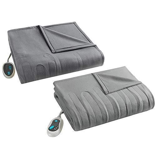 Beautyrest Fleece Combo Set-Grey-Full Size Blanket 80' x 84' + Throw 50' x 60'-with 2 Heat-Regulating Controllers