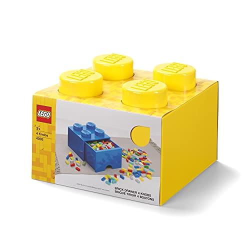 LEGO-40051732 Brique de Rangement Empilable 4 avec Tiroir, Solid, 40051732, Jaune, 25 x 25 x 18 cm
