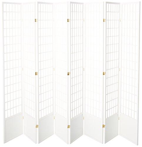Hot Sale Oriental Furniture Window Pane 7-Feet Tall Shoji Screen -White 8 panel, B
