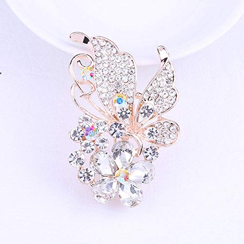 N/W Brooches For Women Ladies Alloy Inlaid Artificial Diamond Brooch Butterfly Brooch Silver Flower Brooch Gift Jewellery Brooch Pins
