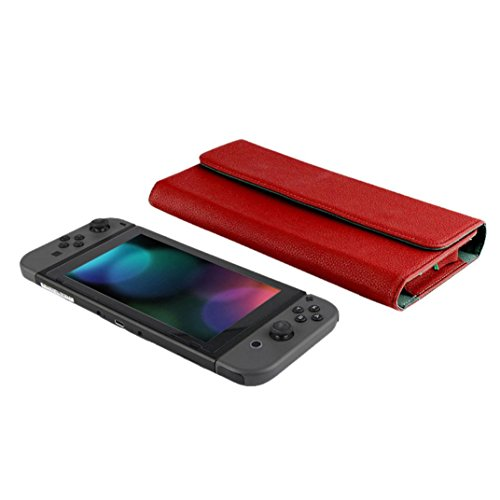 Wensltd For Nintendo Switch Console Tough Leather Case Cover Pouch Travel Carry Bag (Red)