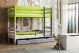 Children's Beds Home - Litera de madera maciza - Toby para niños y niños pequeños - Tamaño 140 x 70, mezcla de colores 1, cajón no, colchón de látex de alta resistencia de 12 cm