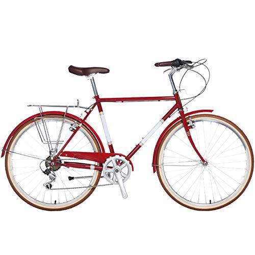 TWW Bicicleta para Hombres Y Mujeres 26 Pulgadas 7 Velocidades Bicicleta Retro para Adultos Estudiantes Masculinos Y Femeninos Bicicleta De Coche Deportivo,Rojo