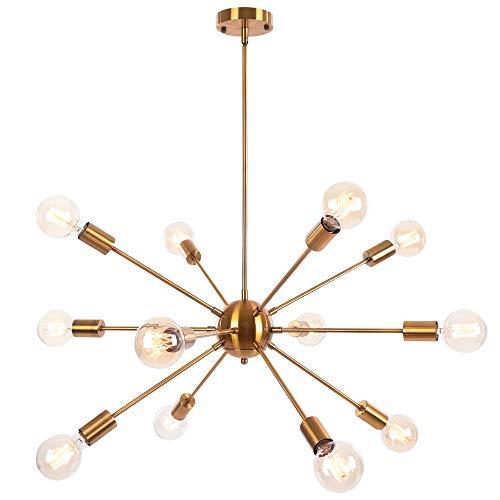 OYIPRO Moderno Iluminacion colgante Sputnik Bolas Lamparas de arana con 12 Luces E27 para sala de estar Dormitorio (Sin bombilla)