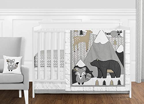 Sweet Jojo Designs Beige, Grey and White Boho Mountain Animal Gray Woodland Forest Friends Baby Unisex Boy or Girl Nursery Crib Bedding Set - 11 Pieces - Deer Fox Bear