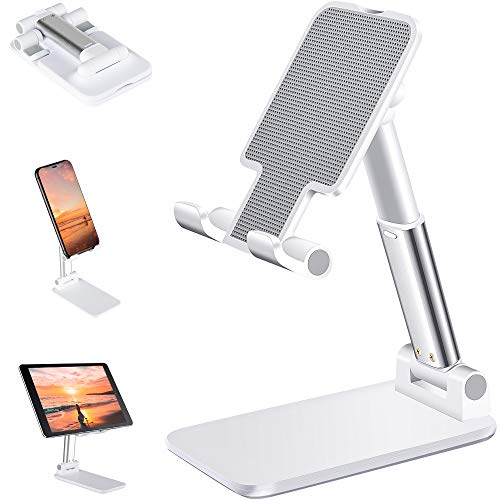 Cell Phone Stand, ANDATE Angle Height Adjustable Cell Phone Stand for Desk, Fully Foldable Cell Phone Holder, Tablet Stand, Case Friendly Compatible with All Mobile Phone/iPad/Kindle/Tablet Phone Dock