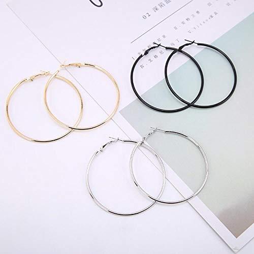 LEIXNDPLBO Mode Dames Meisje Trendy Grote Hoop Oorbellen Grote Gladde Merk Loop Oorbellen Sieraden, zwart, 50mm