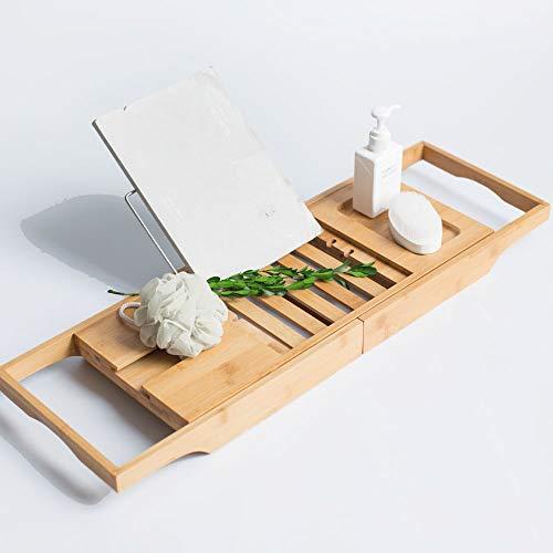 Universeel Badrek verstelbaar van 70,5 -> 97 Cm - Voorzien van Boekenhouder/Tablethouder - Bamboe Hout - Badplank met Boekenhouder + Plaats voor Kaars en Glas Wijn - Kleur: Natural -Decopatent®