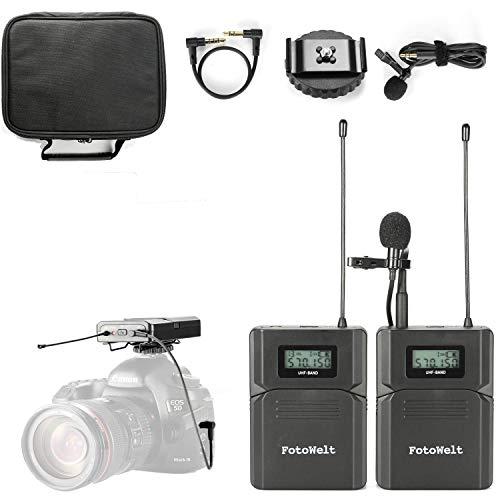 Pixel UHF Micrófono Lavalier Inalámbrico con Tiempo Real Monitor para cámara...