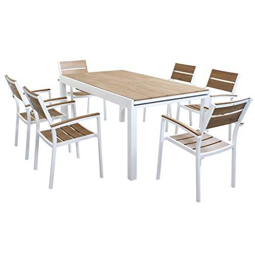 MilaniHome Set Tavolo Giardino Allungabile Rettangolare 160/240 X 90 con 6 Poltrone in Alluminio Bianco E Polywood da Esterno