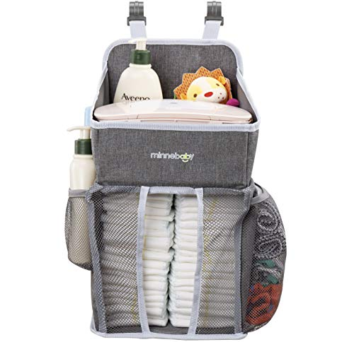 Minnebaby Baby Nursery Organizer and Diaper Caddy Organizer, Hanging Changing Table Diaper Stacker for Crib Storage, Playard and Nursery Organization