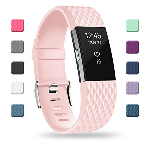 POY Replacement Bands Compatible for Fitbit Charge 2, Special Edition Adjustable Sport Wristbands, Large Pink