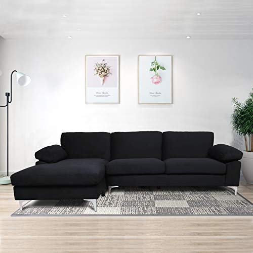 Knowlife Sectional Sofa Couch for Living Room Modern Velvet L-shacked Chaise, Black Couch