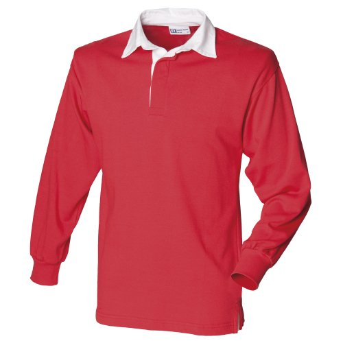 Front Row Long Sleeve Plain Rugby Shirt Red/White M