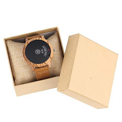 MOLINB Hölzerne Uhr Bambusholz Uhr Herrenmode Plattenspieler Einzigartige fächerförmige Zifferblatt Design Quarz Lederband Männliche Armbanduhr Geschenke für Männer Frauen, Uhr mit Box