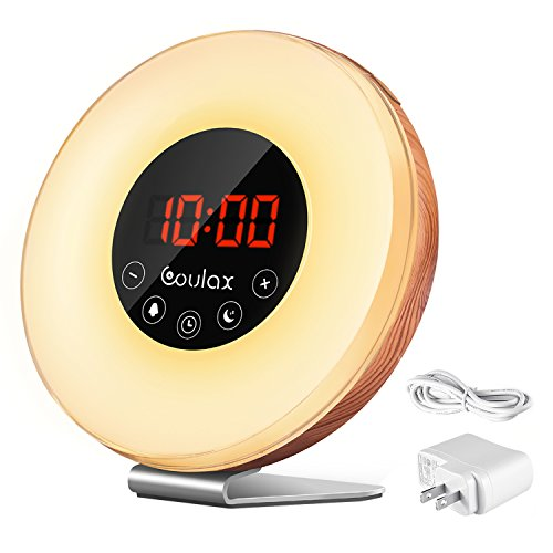 Coulax Lichtwecker aus Holz, beleuchtet, 7 Farben und 6 Naturgeräusche, verstellbar, FM Radio, Helligkeit 10, verstellbar mit einem Adapter