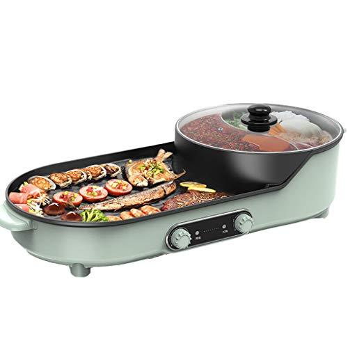 GXFCH SHOP Grill Indoor Hot Pot, 220V 2200W, Leichte Saubere Einstellbare Temperatur, Tragbarer BBQ-Grillplatz,2-6 Personen Versammlungen Bratpfanne