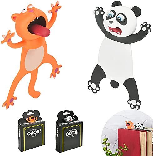 FGen Segnalibro 3d Animali, Simpatici Segnalibri per Cartoni, Segnalibri Animali, Segnalibro Bambini in Materiale PVC Divertente Cancelleria per Bambini a Scuola o Regalo per Studenti (2 pezzi)