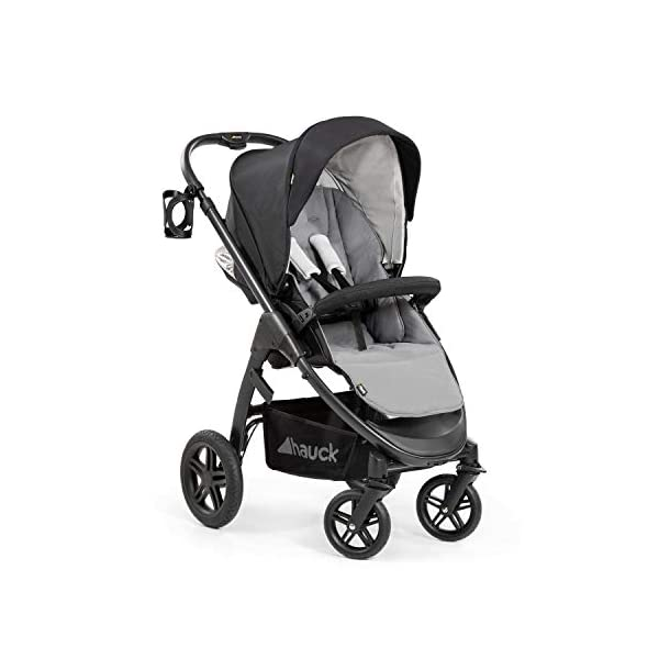 Hauck Hauck Unisex Promenade Chaises Black/Grey Hauck Maximum comfort: backrest and footrest adjustable to the lying position, extra large canopy, height adjustable handlebars, cup holders and foot covers All terrain: the stroller is suitable for both the city and the countryside thanks to the suspension, the high-quality rubber profile and the swivel and lockable front wheels. Swivel: The lightweight sports chair with removable front bar can be rotated towards parents or in moving direction easily in a few seconds. The chair supports a weight of up to 25 kg. 1