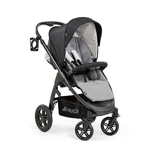Hauck Saturn R All-Terrain Sportwagen + Beindecke, drehbar, bis 25 kg, XL Verdeck, Getränkehalter, höhenverstellbar, kompakt faltbar, kompatibel mit Babywanne & Babyschale, schwarz grau