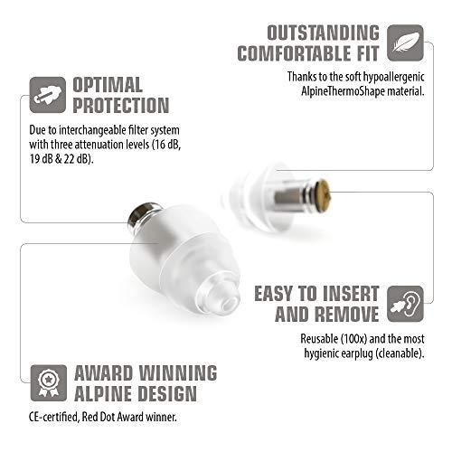 Alpine MusicSafe Pro Gehörschutz Ohrstöpsel für Musiker - Werte dein Musikerlebnis auf ohne Hörschäden zu riskieren - Drei austauschbare Filterstufen - Hypoallergenes & Wiederverwendbar - Transparent - 8