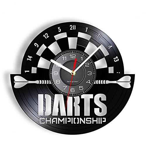 hxjie Moderne Bumerang-Wanduhr-Dart-Brettspiel, Champion Retro-Quarz-Stille Spielzimmerdekoration, Vinyl-Uhrendekoration Ohne LED