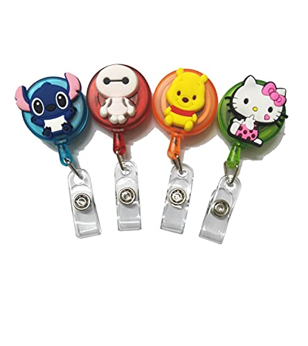 4pcs Retractable Badge Holders. Cartoon Cute Retractable Badge Reel, Badge Reel Holder for Children and Nurses, Clip-on Name Badge Holder for Office