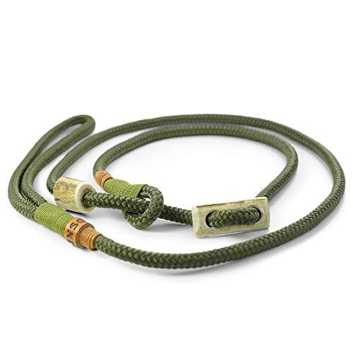 KENSONS for dogs Retrieverleine Elegant | robuste Hundeleine aus Tau mit integrierter Halsung | Ø8mm | Horn-Zugstopp