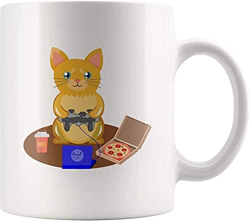 Younini Gamer Cat Feline Lover Hobby Freetime Geek Taza de café Geek Videojuegos Gatito Animal Pet Lover 11 oz Taza de cerámica blanca