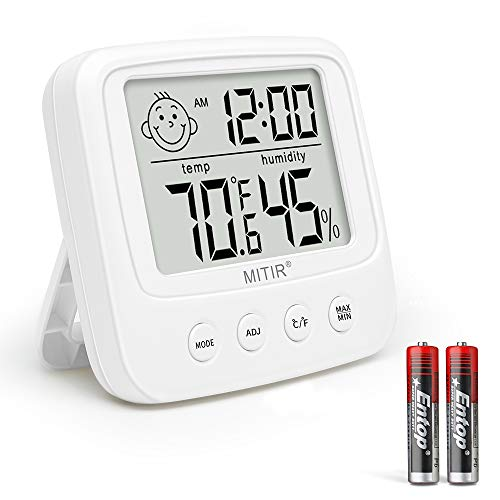 MITIR Indoor Hygrometer Thermometer, Digital Temperature and Humidity Gauge, Room Hygrometer Thermometer with Clock (White)