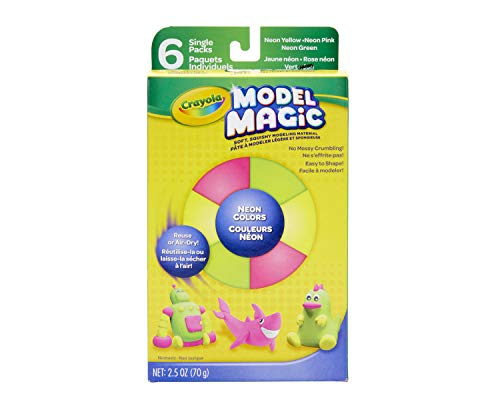 Crayola Model Magic, Neon Colors, Clay Alternative, 6 Single Pack, Model Magic Neon Colors