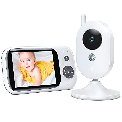 Vigilabebés Inalambrico con Cámara y Audio, Inteligente Cámara de Vigilancia, LCD de 3.2' Visión Nocturna Sensor, Charla Bidireccional, VOX, Despertador, 930mAh
