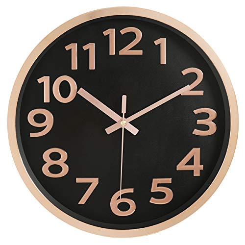 12 Inch Modern Wall Clock Round Glossy Plastic Plating Frame Silent Non-Ticking 3D Numbers...