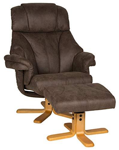 Duo Collection Yukon Relax Sessel, Fernsehsessel, Loungesessel, Ruhesessel, Büffel-Mikrofaser, Braun, L/B/H: 87cm x 87cm x 106cm