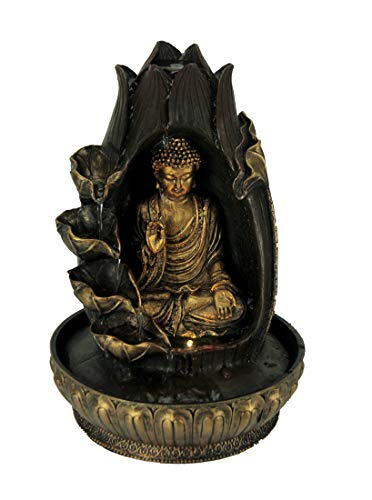 Fantasy Gifts Buddha Meditating in Lotus Flower LED Lighted Tabletop Fountain