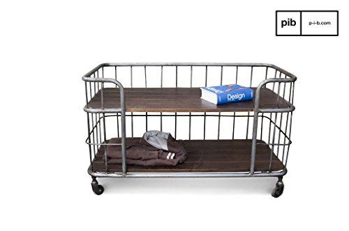 Remember opberg trolley industriele stijl - Tijdloos elegant, Zilveren afwerking | Tv-meubel of dressoir, 100% industrieel vintage karakter - Chocoladebruin (L94 x H58 x P47 cm)