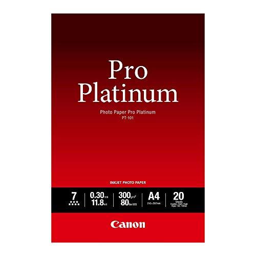 Canon PT-101 Pro Platinum Fotopapier - DIN A4, 20 Blatt (300 g/qm) für Tintenstrahldrucker